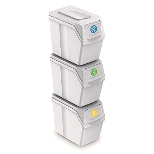 Juego de 3 cubos de reciclaje capacidad total 60 litros, apilable, compartimentos en color blanco, 3x20 Litros