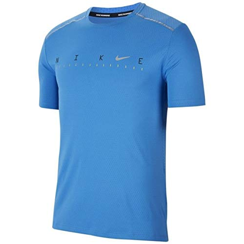 NIKE M Nk Dry Miler SS Tech Po FF Short Sleeve Top, Hombre, Pacific Blue/Reflective silv, L