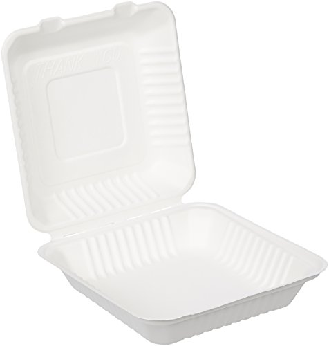Amazon Basics Compostable Clamshell Take-Out Food Container, 9' x 9' x 3.19', Pack of 300