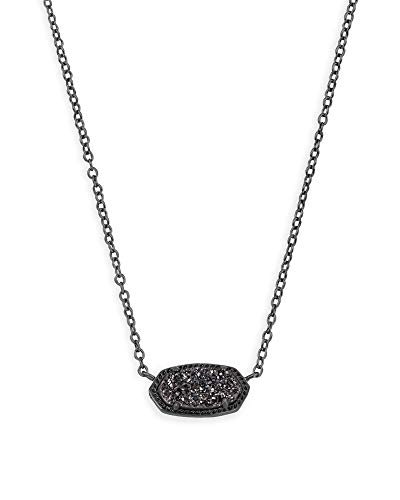 Kendra Scott Elisa Pendant Necklace for Women, Fashion Jewelry, Gunmetal, Black Drusy