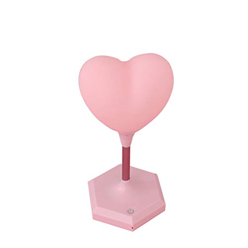 ZLD Pink Girl Heart LED Creative Fashion Cute Table lamp Pink Small Fresh Night Light LED Night Light Heart-Shaped Touch Light Charging Bedroom lamp Adjustable Table lamp