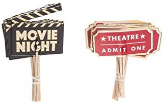Movie Night Cupcake Toppers Food Picks Movie Night Party Toppers Pack of 24