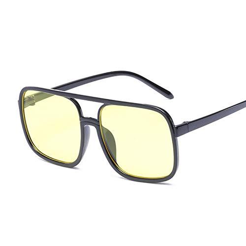 IRCATH Gafas de Sol cuadradas Negras de Gran tamaño para Mujer, Montura Grande, Gafas de Sol Rosas, Espejo Femenino, gradiente Unisex, Sombras de Hip Hop-C1