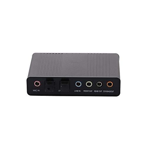 Docooler Placa de Som Externa Canal 5.1/7.1 USB2.0 Adaptador de Som de Áudio Óptico para PC Portátil (Preto)