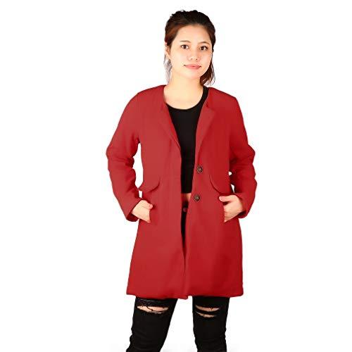 Trendy Winter Slim Thickening Cuello Redondo Una línea Abrigo de Lana Color sólido Chaqueta de Trinchera de sección Larga para Mujer Rojo, L Uniquelove