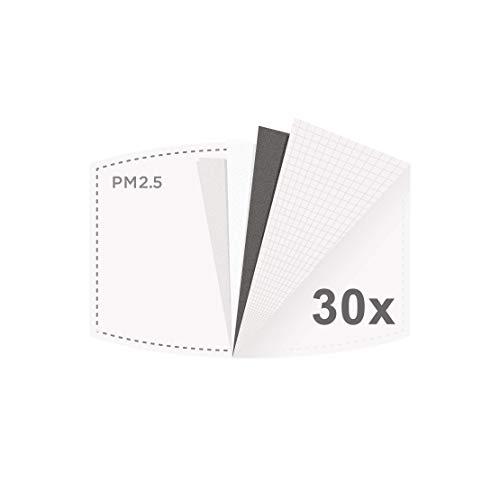 Maske Aktivkohlefilter DECADE wiederverwendbar 5-lagig pm 2.5 Filter | Kohlefilter Ersatzfilter Filtereinsatz Einlage Austauschfilter Filterpapier Carbon Filter Replacement – 30 Stück