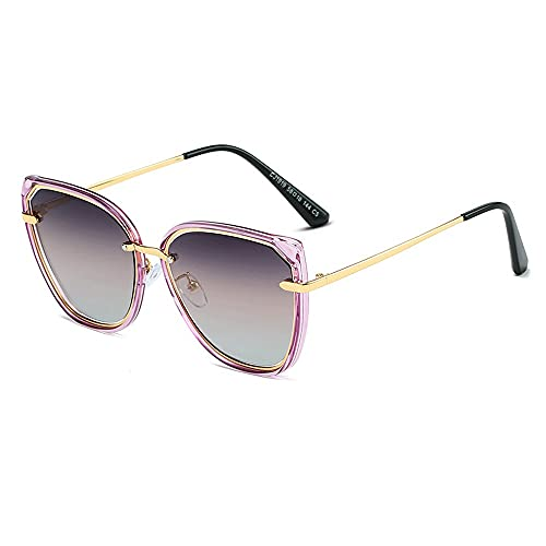 Anti-UV Gafas De Sol para Hombre Y Mujer Moda, Marco De Gafas ProteccióN para ConduccióN Gafas De Deportes Al Aire Libre De Pesca De Moda Regalo De San ValentíN (Color : Purple Gray)