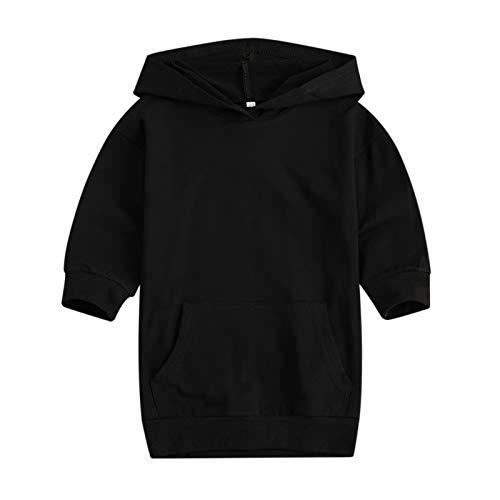 Sudadera con capucha para niñas pequeñas, de manga larga, de color sólido, con bolsillo, Negro, 1-2 Años