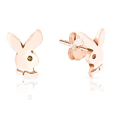 DTPsilver - Damen - Ohrringe 925 Sterling Silber und Rose Vergoldet - Playboy Hase - Durchmesser 7 x 9 mm