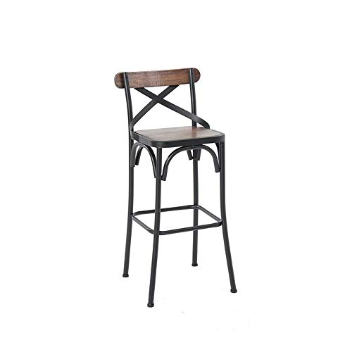 The High-Altitude Bar Stool is 65cm (26 Inches) High, Iron Structure Solid Wood Cushion, Black, Used for Restaurants, Bars, Cafes, Front Desk