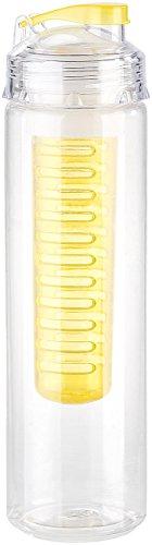 Rosenstein & Söhne Trinkflasche mit Einsatz: Trinkflasche, Wasserflasche mit Fruchtbehälter, Tritan, BPA-frei, gelb (Trinkflasche mit Filter für Obst)