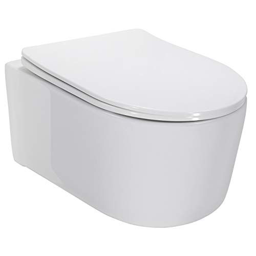 Adige Design Hänge WC spülrandlos Toilette inkl. WC Sitz mit Softclose Absenkautomatik + abnehmbar
