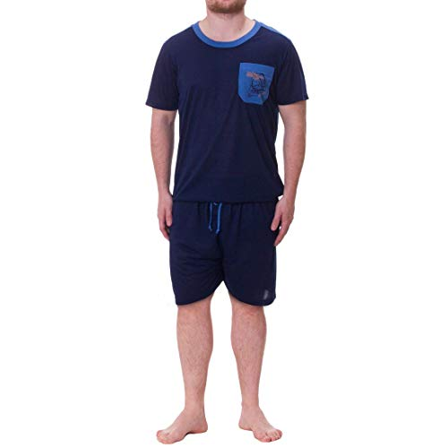 Henry Terre Herren Pyjama Shorty Kurze Hose Schlafanzug Set, Farbe:Navy, Größe:3XL