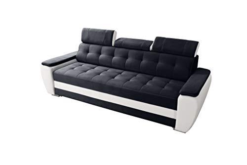 Robin Diana Sofa mit Schlaffunktion, Schlafsofa mit Bettkasten und Kissen, Freistehendes Couch, Polstergarnitur Sofa (Black/Ultra White)