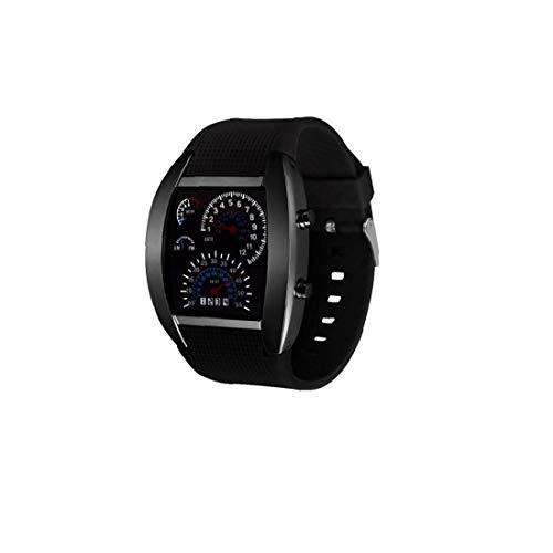Sanfiyya Regalos de Goma Negro velocímetro Digital Relojes de Pulsera Reloj LED Digital de Instrumentos Panel de Hombres del diseño para el Novio