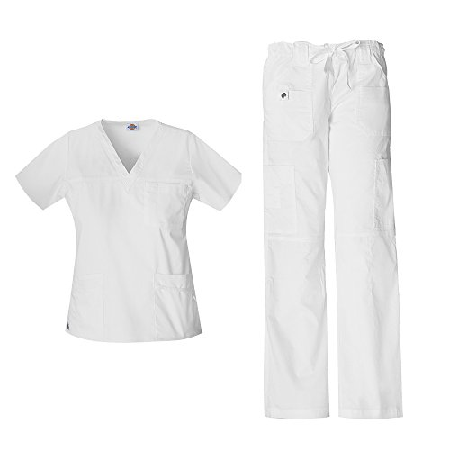 Frauen Gen Flex Junior Fit 'Youtility' Top 817455 & Low Rise Kordelzug Cargohose 857455 Scrub Set (Wei? - Gro? / Gro? Petite)