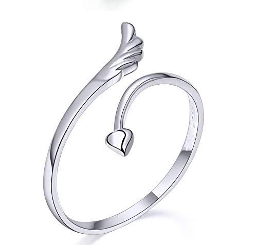 Lozse Einstellbarer Ring Offener Ring Engel Flügel Ring