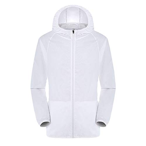 Rainproof Windbreaker Top Women Casual Jackets Windproof Ultra-Light Men (L,White)