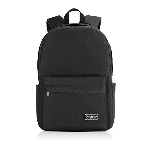 REYLEO Zaino Scuola, Uomo Zaino Unisex Classic per Laptop da 15,6 Pollici, Impermeabile Daypack con Tasche Laterali per Bottiglia - Nero (Versione aggiornata)