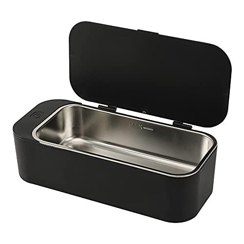 N / B Limpiador ultrasónico portátil, para joyería, Plata, anteojos, Anillos, Monedas, dentadura, Cadena, Negro