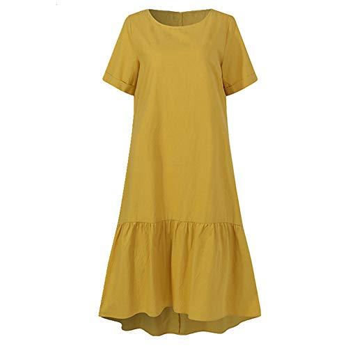 N\P Vestido de verano de manga corta suelta O-Neck