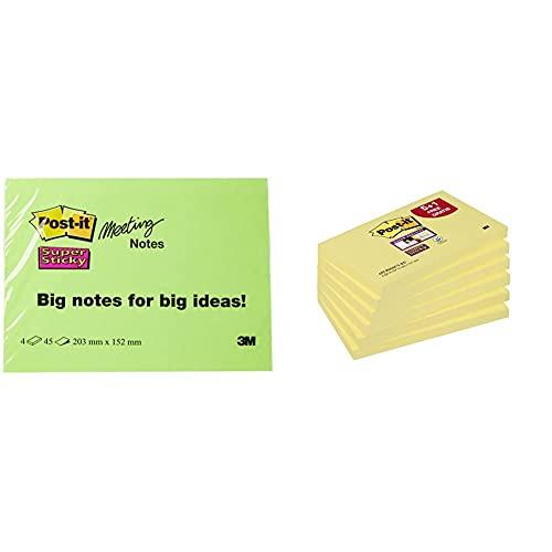 Post-it 6845-SSP Notas adhesivas, 45 hojas, 203 x 152 mm, Colores Surtidos, Paquete de 4 + 7000144680 Pack de 6 Blocs de Notas Adhesivas Amarillo, 76 x 127 mm