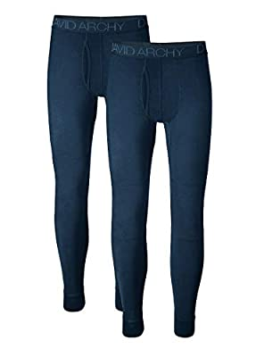 DAVID ARCHY Men's 2 Pack Ultra Soft Winter Warm Base Layer Pants Fleece Lined Thermal Bottoms Long Johns with Fly (M, Navy Blue)