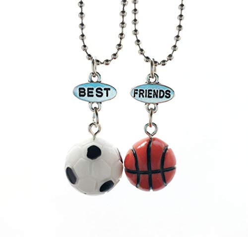 Best Friends Necklace 2pcs BF Necklace Basketball and Football Sports Necklace for Girls Boys