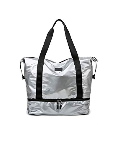 Castura Womens Duffle Bag Gym Bag for Travel Weekender Overnight,Carry On Duffel Tote Bag with Shoes Compartment Silver