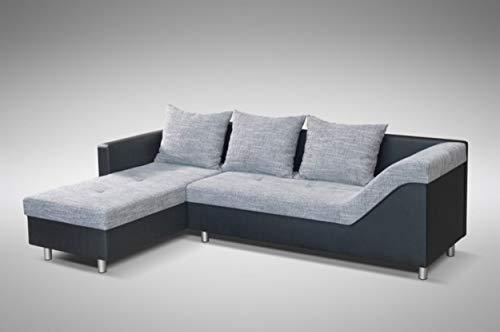 Küchen-Preisbombe Sofa Couch Ecksofa Eckcouch Sofagarnitur in schwarz/hellgrau - Lissabon 1- L
