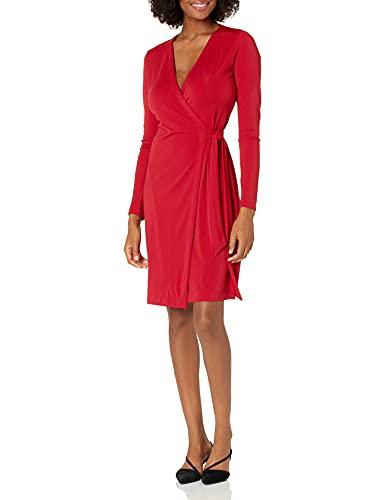 Amazon Brand - Lark & Ro Women's Signature Compact Matte Jersey Long Sleeve Wrap Dress, Red, Medium