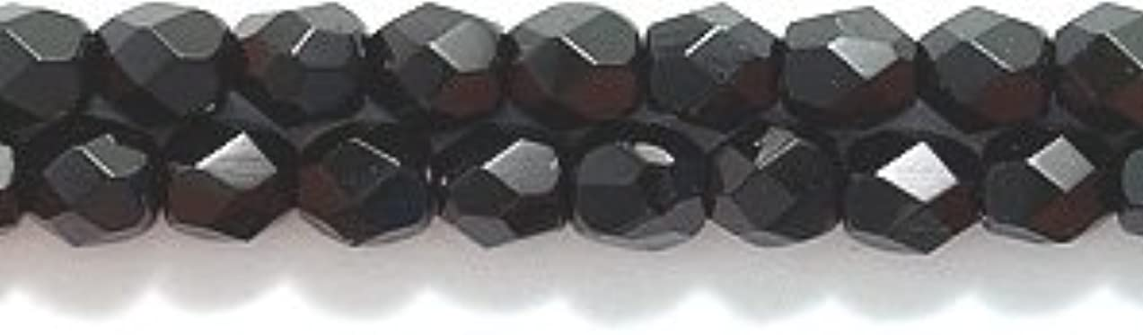 Preciosa Czech 3-mm Fire-Polished Glass Bead, Faceted Round, Black, 300/pack