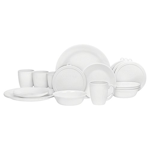 Corelle Winter Frost White Dinnerware Set  with lids (20-Piece, Service for 4)
