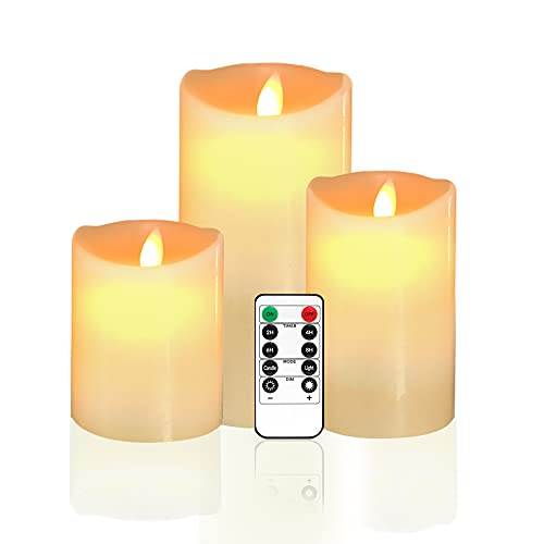 Arotelicht 3 pcs LED Candles flameless Candles 4'5'6' Set of 3 Battery Operated Candles Tealights Real Wax Candle, Pillar Candle with 10 Key Remote Control for Festival, Weddings, Parties, Christmas