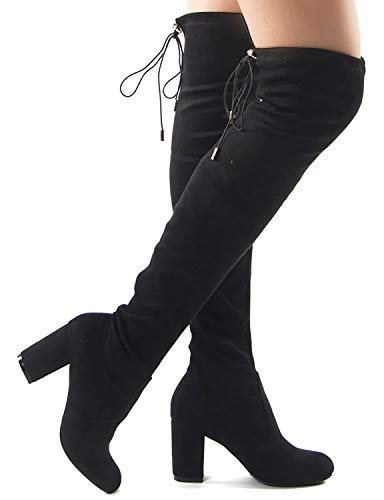 Women Fashion Suede Block Heel Over the Knee Boots (10)