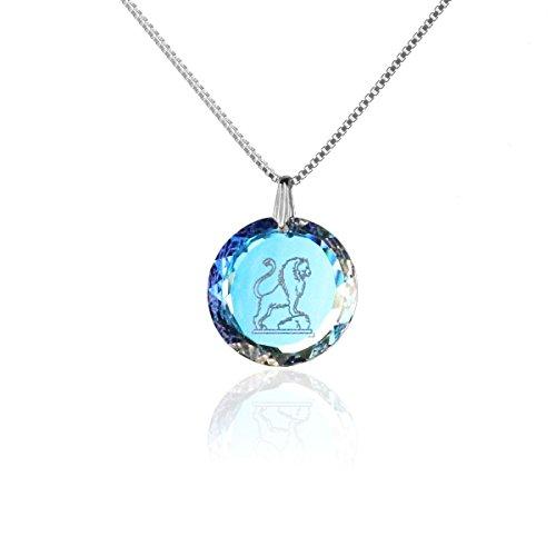 Silberkette Halskette 925 Silber Sternzeichen Tierkreiszeichen Löwe hergestellt mit Swarovski®Kristall