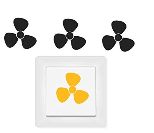 generisch 4X Ventilator Symbol Aufkleber, Schalteraufkleber 254/5/1 (dunkelgrau matt, 2,5 x 2,5 cm)