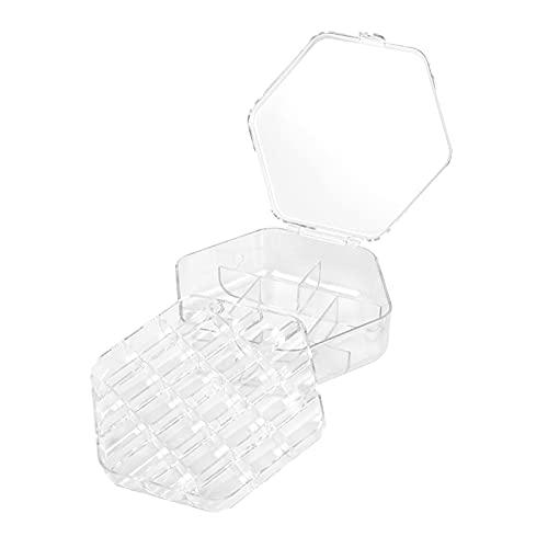 Grebest Caja de joyería doble con anillo para pendientes, gran capacidad, almacenamiento para niña, transparente