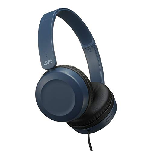 JVC On Ear Lightweight Headphones (HA-S31M) with Powerful Sound, Integrated Remote & mic for Smartphones (Blue)