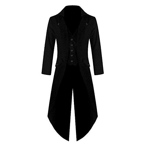 wenyujh Homme Manteau Veste Queue-de-Pie Steampunk Gothique Blouson Fashion Aristocrate Déguisement Costume Cosplay Fête Party Halloween