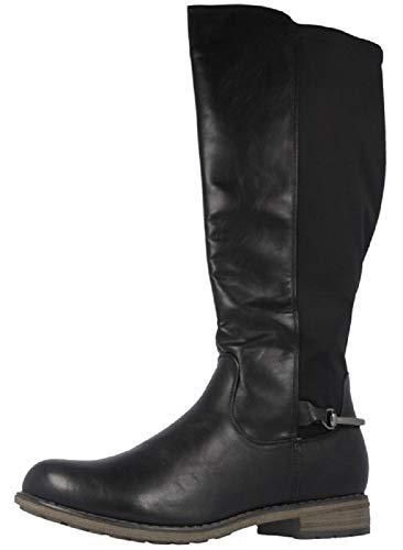 Fitters Footwear That Fits Damen Stiefel Maja PU Stiefel klassisch elastisch Reiterlook Übergröße (45 EU, schwarz)