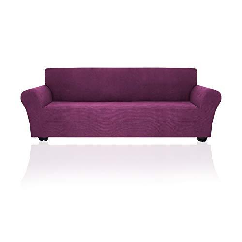 YuuHeeER 1 funda elástica para sofá de 3 plazas, antideslizante, lavable, color morado oscuro