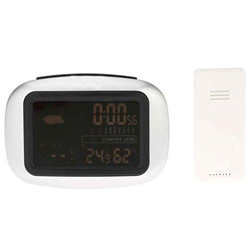 Idyandyans Retroilluminazione LCD Stazione Meteo Digitale Senza Fili del sensore del termometro in/Orologio Esterno Temperatura umidità Meter