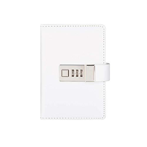 Cuaderno clásico Notebook A7 Creative Password Journal with Lock Diario de cuero con cerradura de combinación Contraseña Cuaderno Localización Diario de bloqueo (Color: Blanco) LNNDE ( Color :