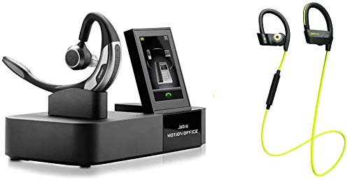 Jabra Motion Office - UC Optimized Noise Canceling Mono Bluetooth Wireless Headset with Triple Connectivity - Includes Jabra Sport Pace Yellow Stereo Bluetooth Headset - a Work and Fitness Bundle