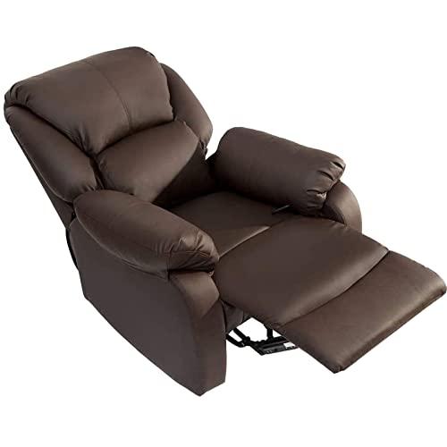 SUNWEII Sillón de Cuero para TV, sillones y sillas, sillones y tumbonas de relajación, sillón reclinable, sillón Relax, sillón con Respaldo para sofá para Sala de Juegos en casa, Cine,1pc