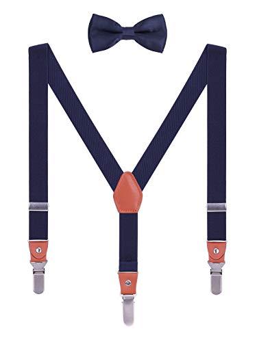WANYING Kinder Kleinkind Jungen Mädchen Hosenträger Fliege Set 3 Starken Langen Clips Y Form Elastische Hosenträger für Körpergröße 95-130cm - Navy Blau
