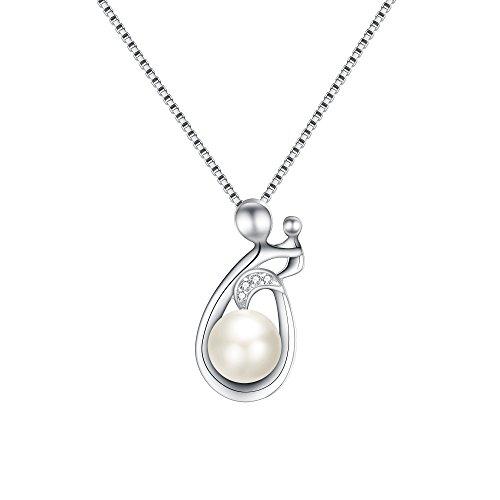 EVER FAITH Damen 925 Sterling Silber CZ 8MM Süßwasser-Zuchtperle Mutter und Kind Anhänger Halskette (Stil1.)