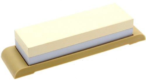 Suehiro Piedra de afilar japonesa de doble cara, grano #1000 y #3000 con base de goma compacta