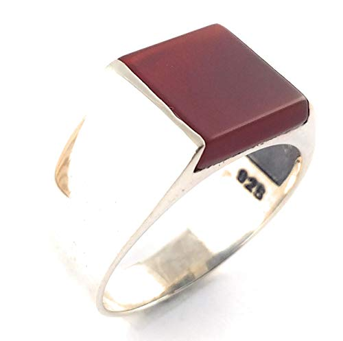 Natural Red Agate Stone 925 Sterling SILVER Turkish Men Luxury Ring (11.5)
